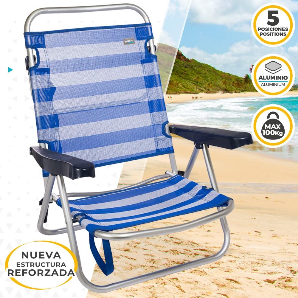 Beach Cm Silla Multiposición 108x60x78 Plegable Aktive Aluminio Azul ID9E2WHY