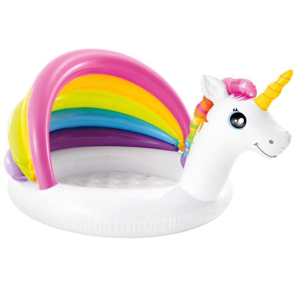 Piscina hinchable  infantil unicornio con parasol INTEX |Distria