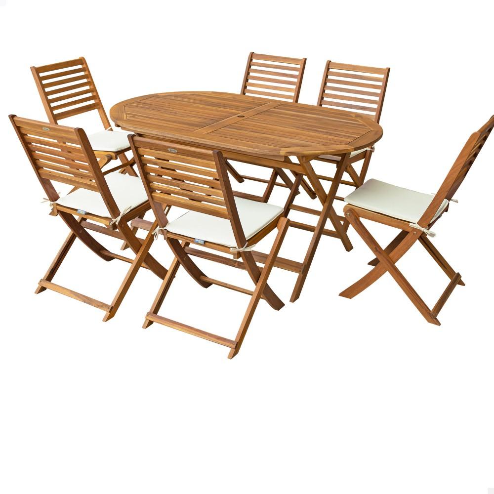 Mesa y sillas de madera FSC para jardín - Distria.com
