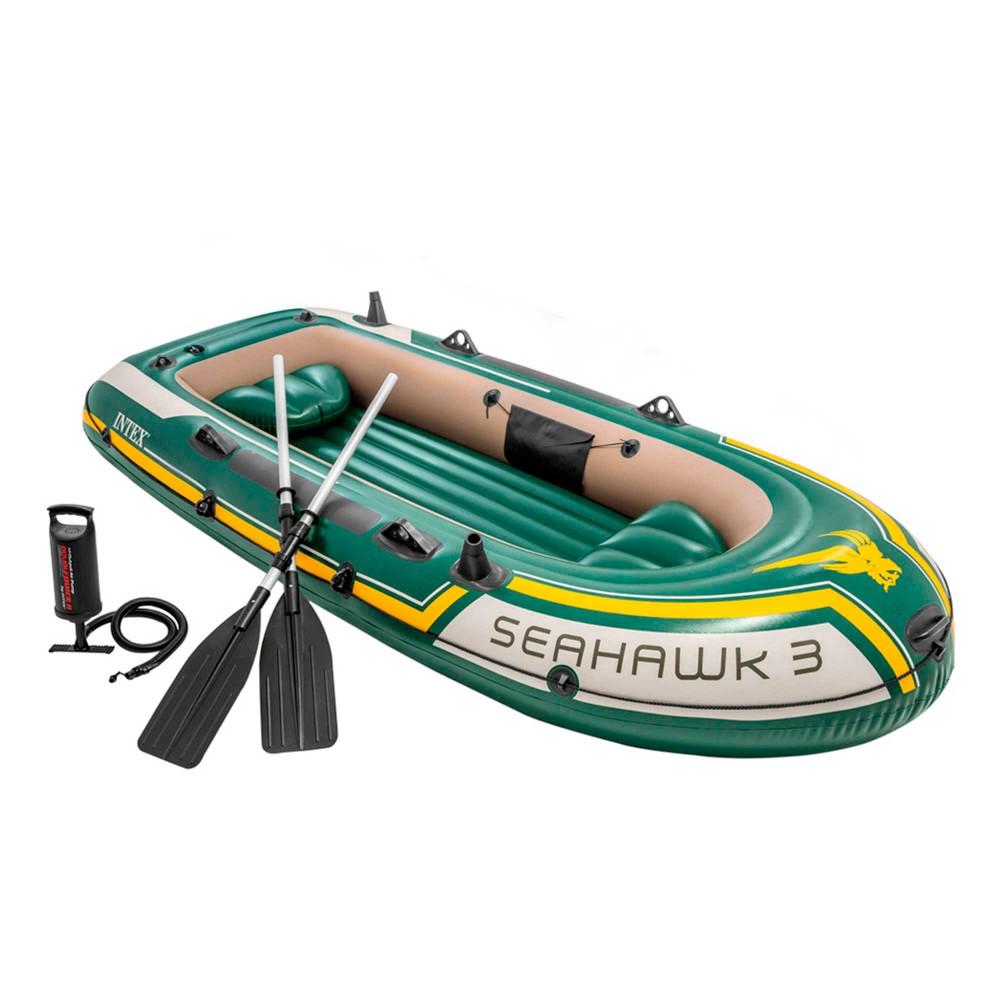 Barco hinchable Intex | Gama Seahawk 3 con remos e hinchador | Distria