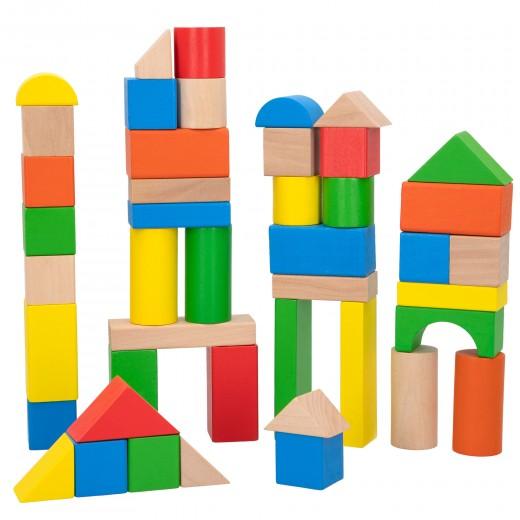 Bloques construcción bebé 100 piezas de madera WOOMAX