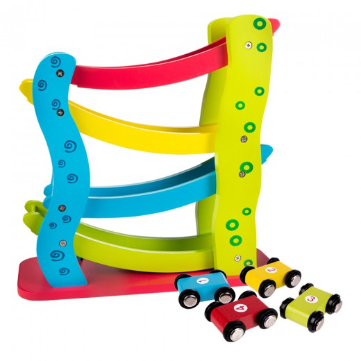 Circuito vertical de madera con 4 coches Play & Learn