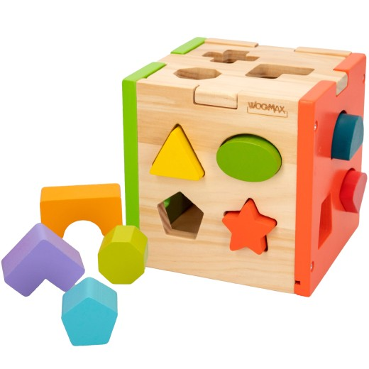 Cubo actividades de madera 14 piezas WOOMAX