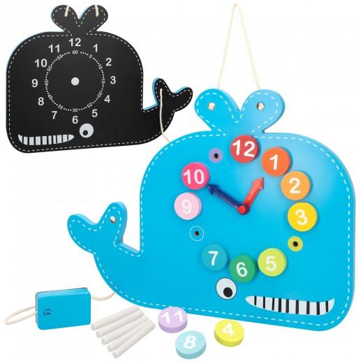 Ballena reloj y pizarra de madera Play & Learn