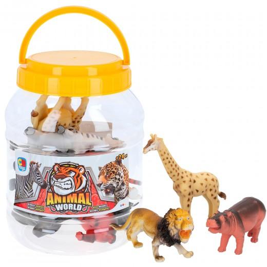 Animales de la selva 8 piezas y bote con asa CB Toys