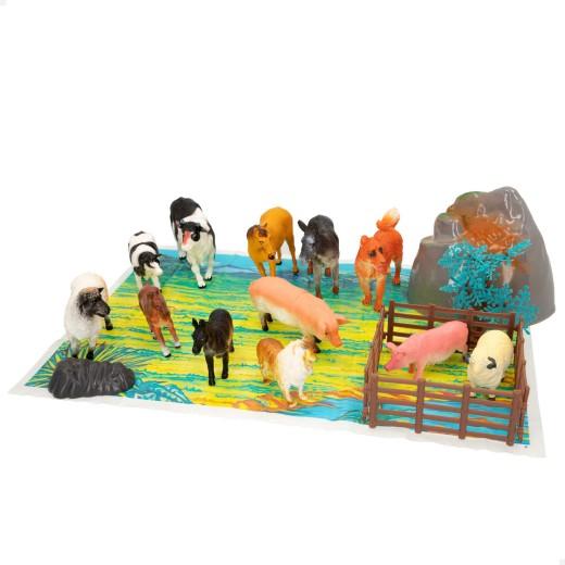 Bote con animales de granja de Animal World - 21 piezas