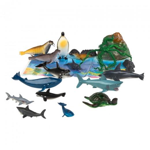 Bote con animales marinos Animal World - 20 piezas