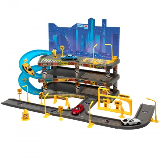 Parking infantil 2 niveles con 4 coches Speed & Go