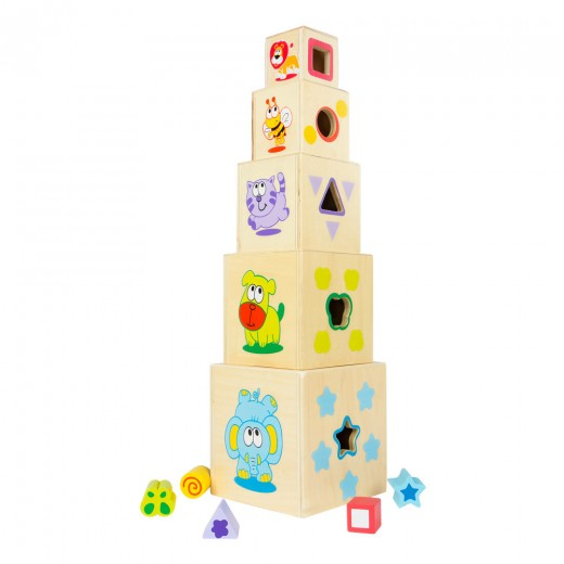 Torre de madera con 5 piezas geométricas Play & Learn