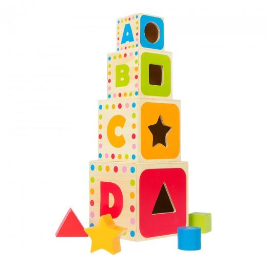 Torre cubos de madera con figuras WOOMAX