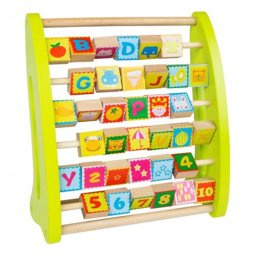 Ábaco de madera con números y dibujos Play & Learn