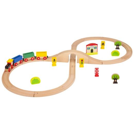 Tren de madera y vías 30 piezas WOOMAX