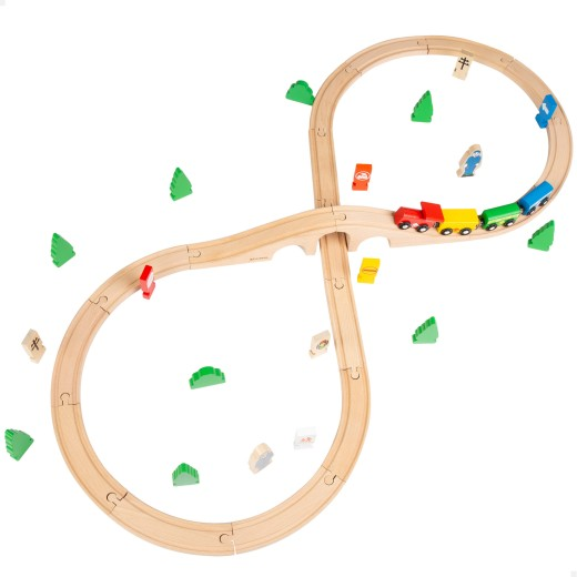 Tren pasajeros de madera con circuito 40 piezas Play & Learn