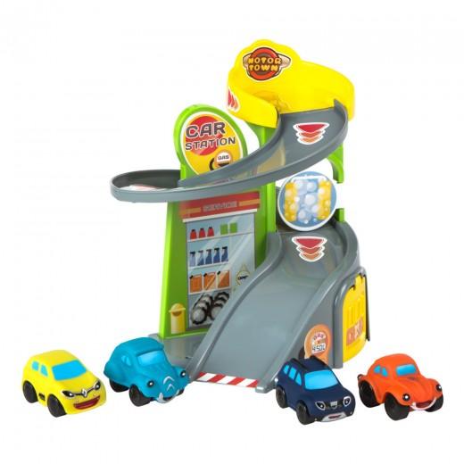 Garaje de juguete con 4 coches Motor Town