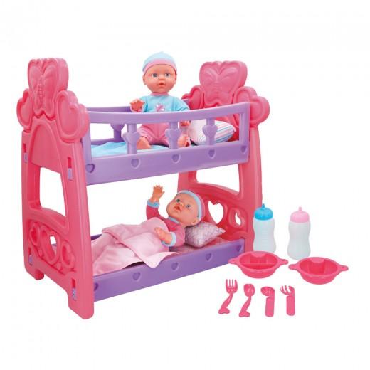 Set bebés gemelos con cuna y accesorios Colorbaby's