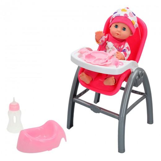 Muñeca bebé con trona 3 en 1 - CBtoys