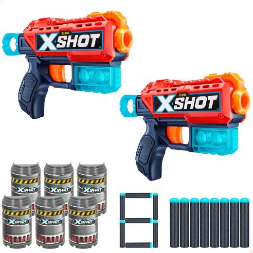 Pack 2 pistolas Kickback X-Shot Excel + 6 botes