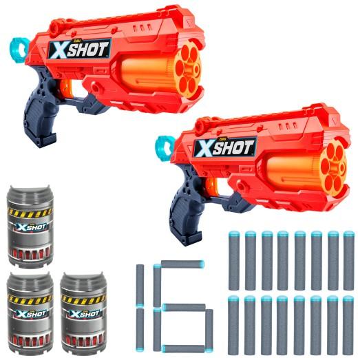 Set con 2 pistolas Reflex 6 X-Shot Excel + 3 botes