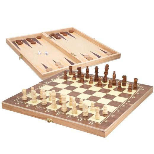 Juego de mesa 3 en 1 ajedrez, damas y backgammon estuche CB Games