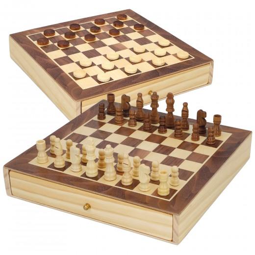 Juegos de mesa ajedrez y damas 2 en 1 madera con cajón CB Games