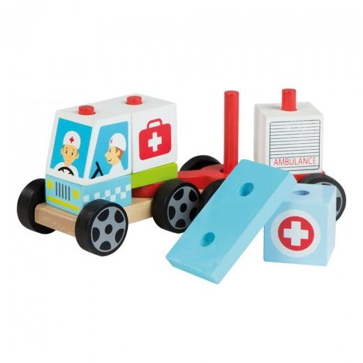 Coche ambulancia de madera natural Play&Learn