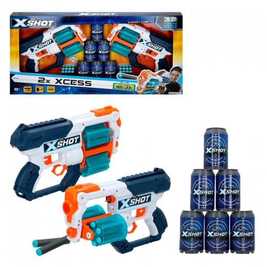 Set 2 pistolas con botes XCESS X-Shot