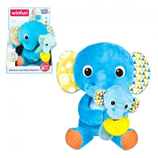 Peluche Mamá Elefante con bebé WinFun