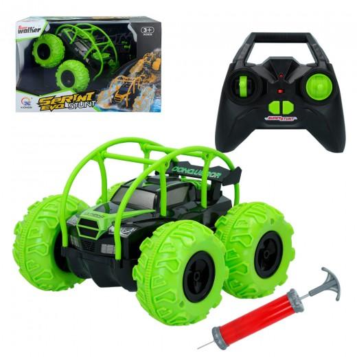 Coche rc anfibio volteretas sprint evo stunt verde cb toys