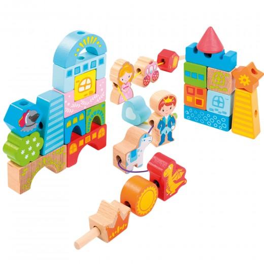 Juego construcción madera castillo 32 piezas WOOMAX