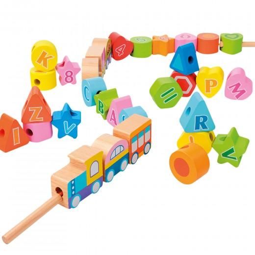 Juego de arrastre en madera tren 35 piezas WOOMAX