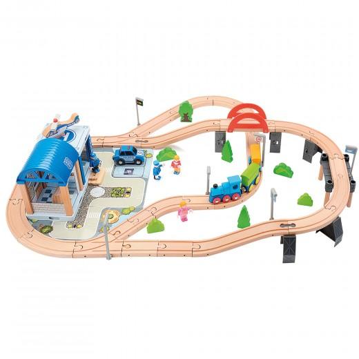 Circuito tren de madera policía 90 piezas WOOMAX