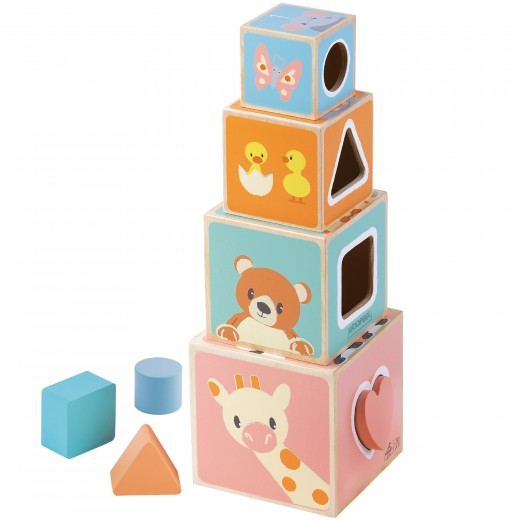 Cubos apilables madera 8 piezas WOOMAX Studio Circus