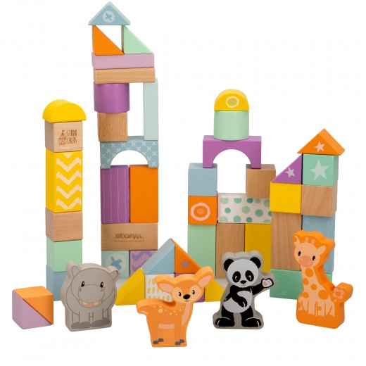 Juego construcción madera Animalitos 50 piezas WOOMAX Studio Circus