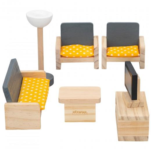 Set mobiliario casa de muñecas madera salón woomax