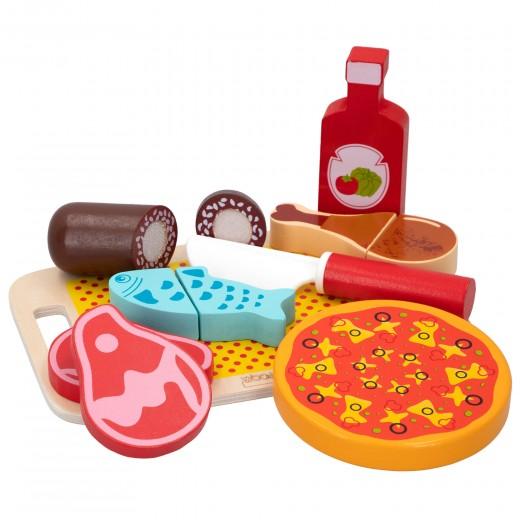 Set comida de madera con accesorios WOOMAX