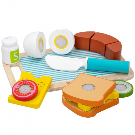 Bandeja desayuno con accesorios de madera WOOMAX