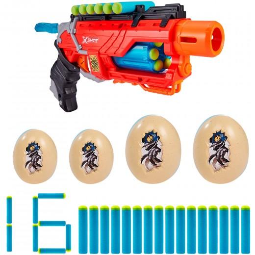 Pistola con munición y 4 huevos Dino Attack X-Shot