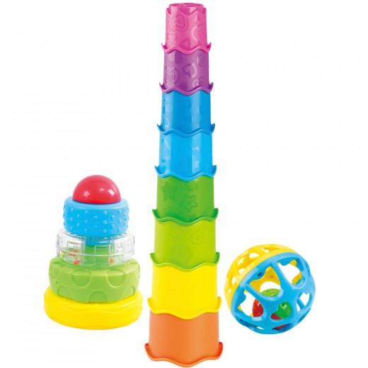 Bloques construcción bebé sonajero y cubos apilables para bebés PlayGo