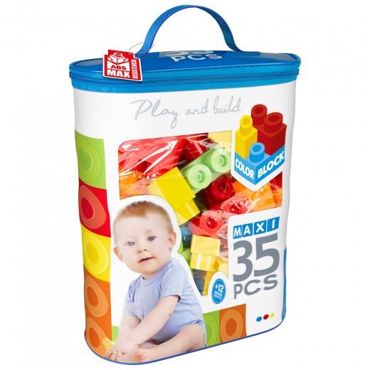 Construcciones para niños juego construcción bolsa 35 piezas maxi color block