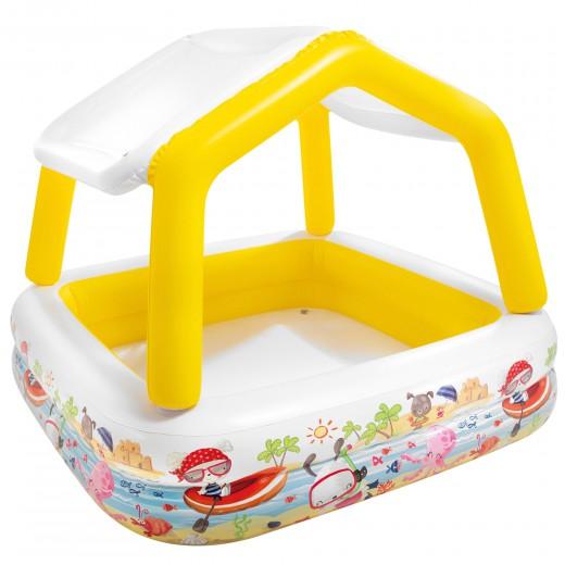 Piscina hinchable infantil Intex con toldo extraíble - 157x157x122 cm - 295 l