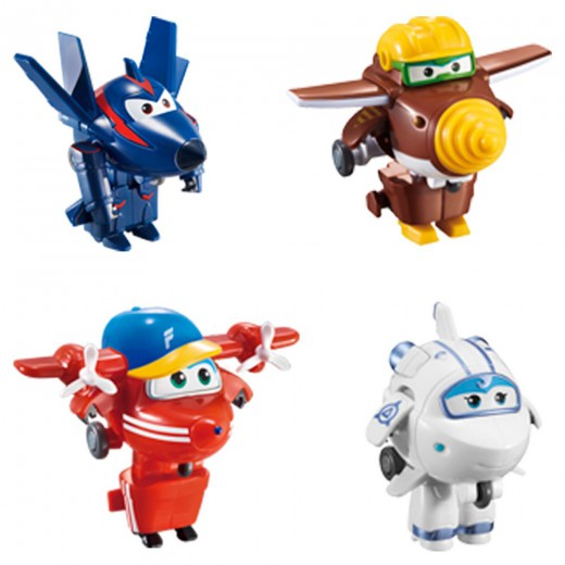 Pack 4 Super Wings Transformables: Astra, Flip, Todd y Chace