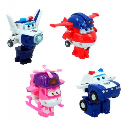 4 figuras de acción transformables Super Wings Transform-a-Bots