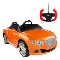 Carro de bateria Bentley Continental GT cor-de-laranja Rastar 6V-2.4G