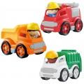 Set 3 camiones de juguete con figuras PlayGo