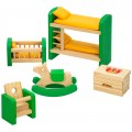 Set muebles habitación infantil para casa de muñecas de madera WOOMAX