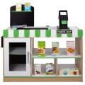 Supermercado juguete madera con accesorios 80x30x80 cm